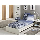 Textilhome - Edredón Ajustable NEW YORK Cama 90 cm. Color Azul