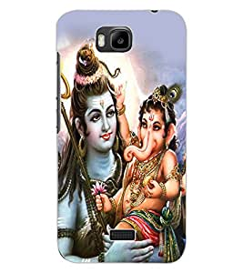 ColourCraft Lord Shiva With Ganesha Design Back Case Cover for HUAWEI HONOR BEE