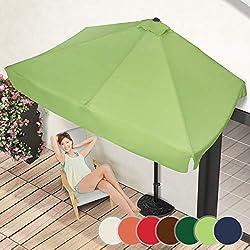 Demi-Parasol Rectangulaire | 228 x 134 cm, avec Manivelle, Protection UV 30+, Polyester, Couleurs au Choix | Demi-Parasol pour Balcon, Terrasse, Jardin (Vert Citron)