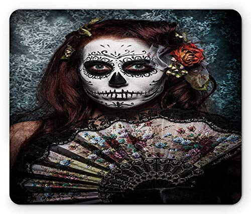SHAQ Day of The Dead Mouse Pad Mauspad, Make up Artist Girl with Dead Skull Scary Mask Roses Artwork Print, Standard Size Rectangle Non-Slip Rubber Mousepad, Cadet Blue Maroon -