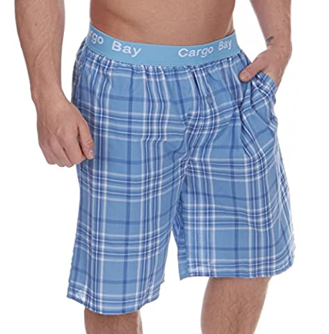 Mens Cargo Bay Yarn Dyed Woven Or Flannel Check Lounge Shorts Pyjama Bottoms