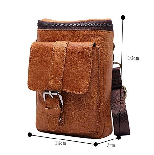 Genda 2Archer Bolso de Cuero de la Correa del Bolso de Cigarrillo de la Bolsa de la cintura Bolso del Cruz-cuerpo de Moto Para los Hombres (14cm * 3cm * 20cm)