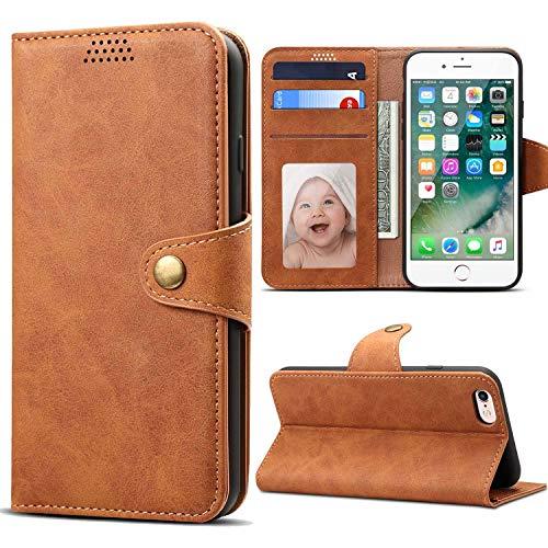 Coque iPhone 6 6S, Premium PU Cuir Housse Etui Coque iPhone 6S Rabat Portefeuille de Protection Case Cover avec [Fonction Support] [Fente pour Carte] pour iPhone 6/6S Coque 4.7'' Marron
