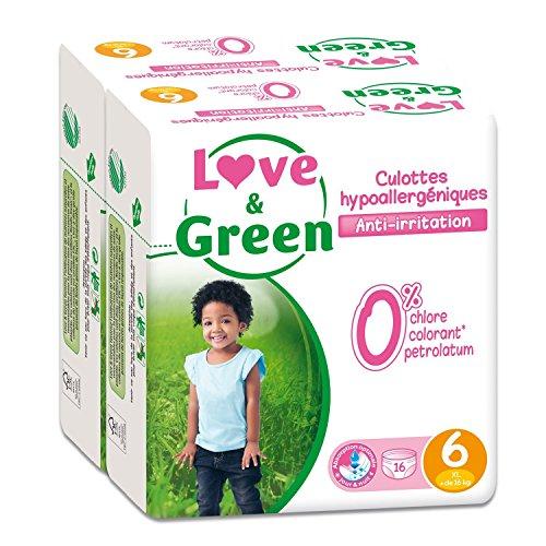 Love & Green - Pack de 16 Culottes Hypoallergéniques - Taille 6 (+ de 16 kg) - Lot de 2