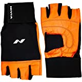 Nivia Leather Gym Glove with Wrist Wrap, Large (Orange)