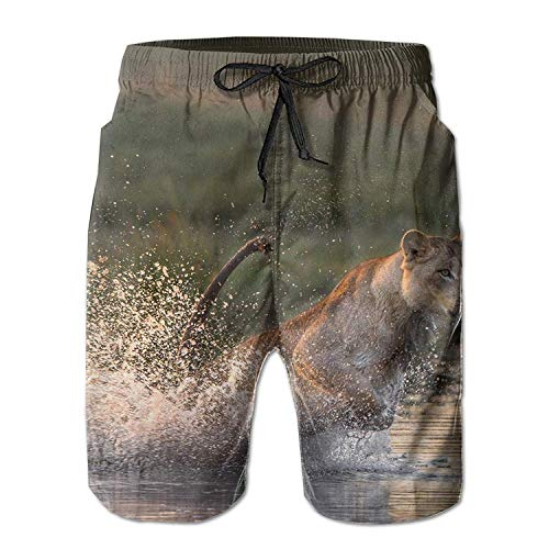 Lion Predator Water Spray Jump Mens Summer Swim Trunks 3D Graphic Quick Dry Funny Beach Board Shorts with Mesh Lining - XXL