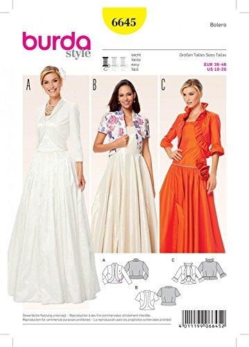 Burda Ladies Easy Sewing pattern 6645bolero giacche