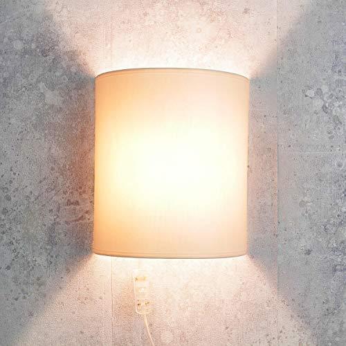Moderne Wandleuchte mit Kabel Anschluss in Creme elegant Loft Stoff Wandlampe ALICE -