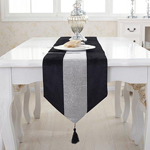 Runner da tavola moderno flanella strass copertura per tavolo da pranzo tovaglia runner panno decorazione per casa hotel ristorante, Nero, 32 * 180cm