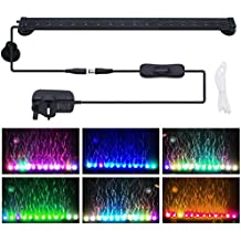 Remote LED Aquarium Light, Motent 12 Leds 24 Keys Remote Control RGB 16 Colors Air Bubble Tank Light Underwater Submersible Light Strip Flood Light with Air Stone for Home Fish Tank Pool - 12 inches