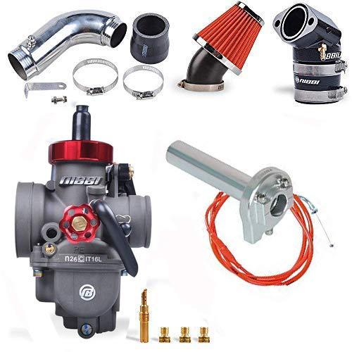 NIBBI Racing Parts Kit de carburador Modificado de reemplazo Original para  Velocidad de Alto Rendimiento PE26MM GY6 Cable Acelerador de Tubo Curvo