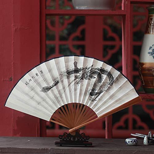 Drachen Papier Chinesischer Kostüm - XIAOHAIZI Handfächer,Sommer Chinesischen Stil Männer Bambus Fan Weiße Tinte Malerei Tier Drachen Vintage Fan Für Hauptwanddekoration Männer Geschenk Fan U-Bahn Faltfächer