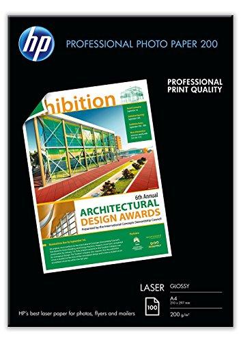 HP CG966A Professional Laser-Papier glänzend (beidseitig beschichtet) 200g/m2 A4 100 Blatt, weiß (Laser Drucker Laserjet Color)