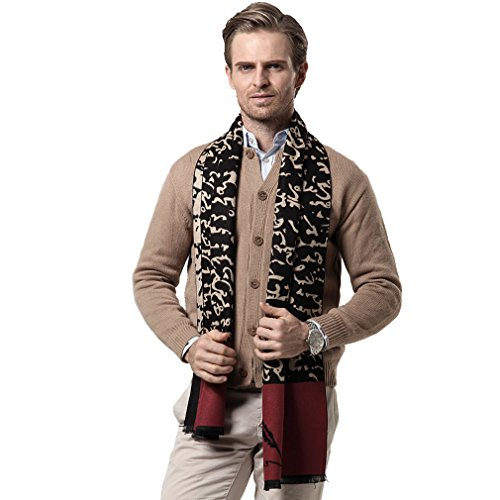 Peacoco Warm Long Scarves for Men Business Casual Thick Collar Nap Wrap Stripe Plaid Scarf for Xmas Gift 61A0202 Black Character