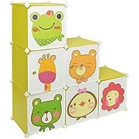 Armario estantería para la ropa, perchero para el pasillo, para niños, Ropero Aparador Estante en verde con motivos de animales