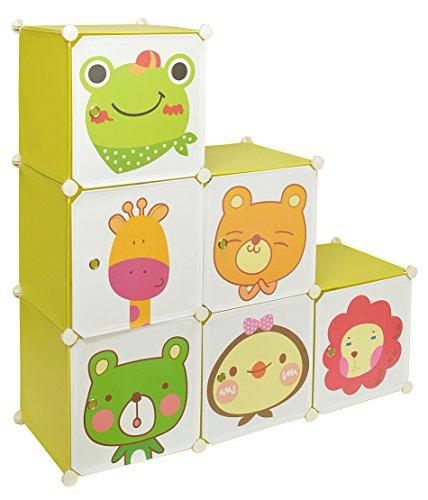 Kinder Regal Schrank Steckregal Regalsystem Sideboard Spielzeugkiste in Grün mit süßen Motivbildern