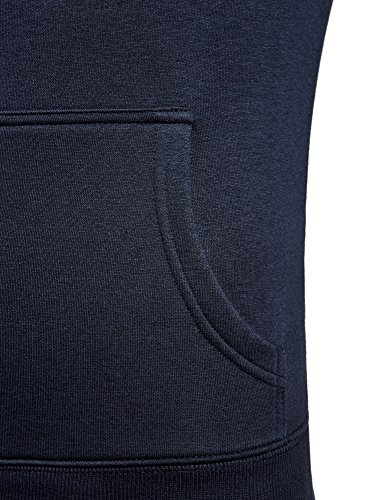 oodji Ultra Herren Kapuzenpullover mit Reißverschluss Blau (7900N)