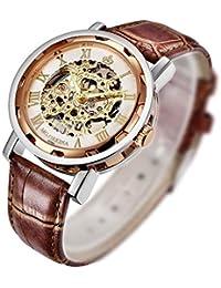 Reloj mecánico de pulsera Steampunk para hombres, de GuTe con correa de cuero, color