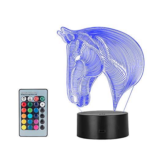 Winzwon 3D Illusion Lamp mtb Schlafzimmer Schreibtisch Tisch Nachtlicht, USB-Stromversorgung 16 Farben 3d night light Blinken Berührungsschalter Schlafzimmer Schreibtischlampe für Kinder Weihnachts geschen(Pferd)
