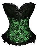 Bslingerie Damen Gothic viktorianischen Brokat Korsett Vintage-Stil Corsage (XL, Grün)