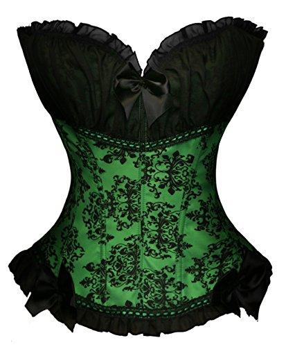 BSLINGERIE® Damen Gothic viktorianischen Brokat Korsett Vintage-Stil Corsage (L, Grün) (Brokat Korsett Stil)