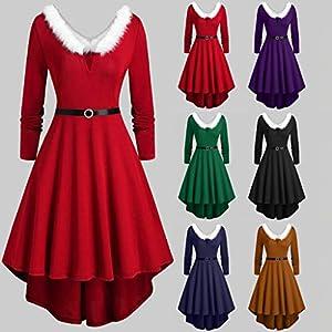 Floweworld Damen Winter Mini Kleider Plus Size Weihnachten Patchwork Kunstpelz Panel Langarm asymmetrische Party Kleider Abendkleider