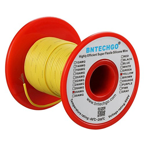 BNTECHGO 28 Gauge Silicone Wire 50 Feet Spool Yellow Soft and Flexible High Temperature Resistant Highly Efficient Electric Wire 28 AWG Silicone Wire 16 Strands of Tinned Copper Wire Awg 50 Spool