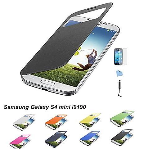 Aeontop 4 en 1: Etui Housse Flip Cover avec fenêtre pour Samsung Galaxy S4 mini i9190,Protecteur d'écran et stylet inclus ,Noir