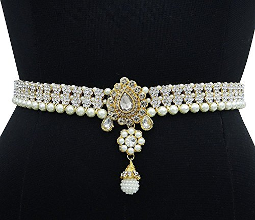 Pcm Kamar Bandh Exclusive Designer Gold Plated Kundan Pearl kamarbandh Belly Hips Chain  available at amazon for Rs.375