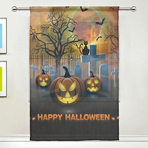 Use7 Custom Spooky Baum Kürbis Halloween Sheer Panel Paar Vorhänge 139,7 x 19,8 cm, 1 Stück Moderne Fensterbehandlung, Paneel-Kollektion für Wohnzimmer, Schlafzimmer, Heimdekoration