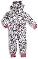 ONEZEE Girls Kids Hooded ONESIE Leopard Print All In One Nightwear Sleepwear New