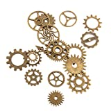 PANYTOW Steampunk Gears Charms Jewellery Making Findings Pack of 17 Bronze