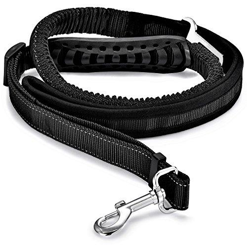 Hunde Sicherheitsgurt für's Auto, Minkle mit Besonders Elastischer Ruckdämpfung für Maximalen Komfort und Höchste Sicherheit, Nylon 120 bis 200 cm Einstellbar Hundeleine, Schwarz