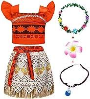 Jurebecia Disfraz Moana Vestido Moana para Niñas Conjuntos de Aventura Conjunto para niñas Vestidos de Princes