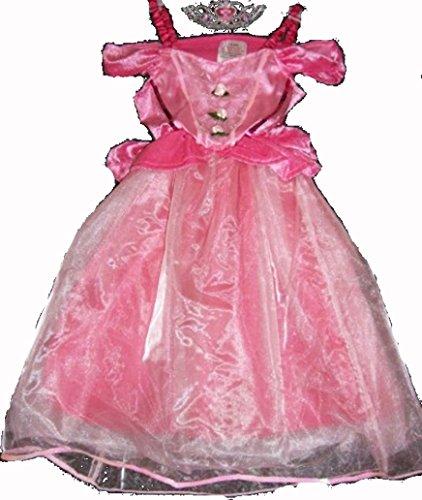 Fasching Kostüm Prinzessin rosa Fee Dornröschen Kleid Engel Krone Dornröschen 98-122 (110-122) (Rosa Dornröschen Kostüme)