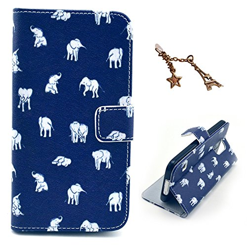 Uming® Il modello della stampa della custodia per armi variopinta della copertura Holster Cover Case ( Sailor anchor - per IPhone 6 6S IPhone6S IPhone6 ) Flip-artificiale in pelle con staffa supporto  Blue - Many Elephants