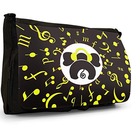 Musicale Animali Grande borsa a tracolla Messenger Tela Nera, scuola/Borsa Per Laptop Musical Elephant