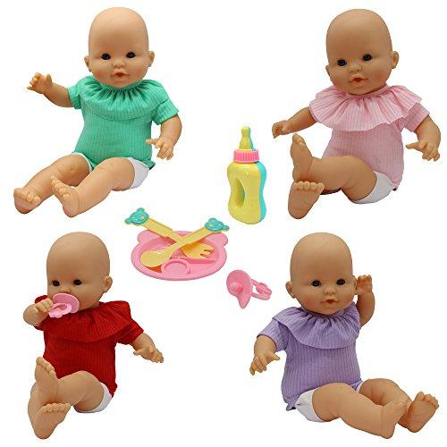 ZITA ELEMENT 9 Stück Babypuppe Zubehör Puppenkleidung Set für 35-46cm Puppen Kleidung Babyflasche Schnuller Teller Gabel Löffel Puppenkleid Outfits (Ohne Babypuppe)