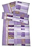 Bügelfreie Seersucker Bettwäsche 135x200 cm - Leichte Baumwoll Bettbezüge mit schönem Muster für den Sommer - Modern gemusterte Bettwaren-Garnitur - Lila