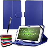 "ENTITY®: Blue 7"" Universal Faux Leather Stand Flip Case Cover For All 7 inch Tab Andriod Tablet PC / Apad Mid Netbook / Galaxy Tab 2 Tab 3 & Tab 4 / HDX / eBook Reader / Nexus & Nexus FHD / Dell Streak / Tesco Hudl / Allwinner / GoTab - Executive Fine Quality Case For 7"" tablet + Free Stylus Pen - * FREE SHIPMENT IN THE UK *"