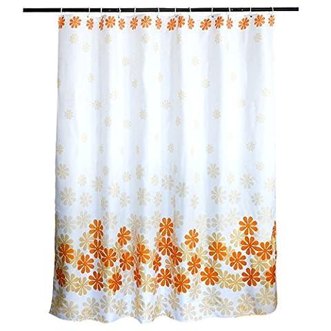 Asentechuk® respectueux de l'environnement Fleur Peach Blossom Motif étanche et Antimoisissure Polyester salle de bain Rideau de douche, Polyester, Orange, 180 x 180cm