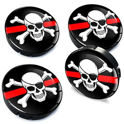 Biomar Labs® 4 x 60mm Coprimozzi Copricerchi Tappi Ruote Auto Logo Stemma Bandiera dei Pirati Cranio Jolly Rogers C 94