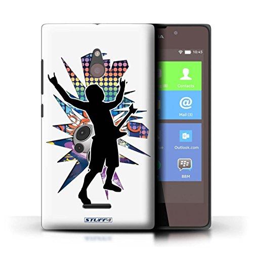 Kobalt® Imprimé Etui / Coque pour Nokia XL / Hendrix Blanc conception / Série Rock Star Pose Rock n Roll Blanc