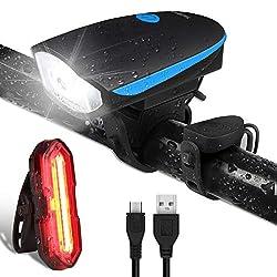 OMERIL Fahrradlichter Set LED Fahrradlicht Wasserdicht StVZO USB Aufladbare Fahrradbeleuchtung Staubdicht mit Fahrradklingel, Fahrradlampe inkl. Frontlicht und Rücklicht Energiesparend