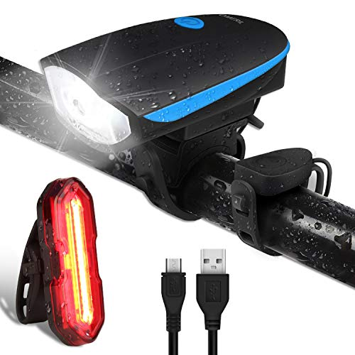 OMERIL Fahrradlichter Set LED Fahrradlicht Wasserdicht StVZO USB Aufladbare Fahrradbeleuchtung Staubdicht mit Fahrradklingel, Fahrradlampe inkl. Frontlicht und Rücklicht Energiesparend -