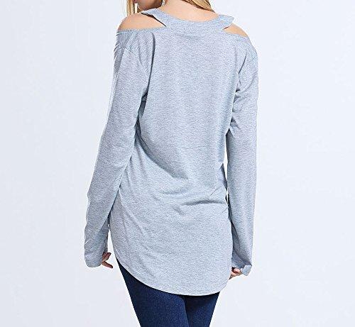 Smile YKK Femme Veste T-shirt Irréguliers Tops Casual Femme Uni Gris