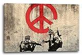 Printed Paintings Impresión Sobre Lienzo (60x40cm): Banksy - Los Soldados pintan símbolo...