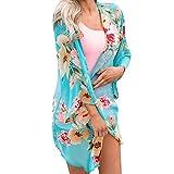 Mode Damen Chiffon Schal Drucken Kimono Cardigan Top Venmo Vertuschen Sie Bluse Beachwear Strickjacken Langarmshirt Strickjacke Wasserfall Strickmantel Lose Mantel Outwear mit Taschen
