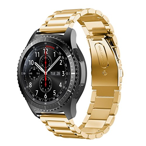Preisvergleich Produktbild Sansee Tainless Steel Watch Band Strap Metal Clasp For Samsung Gear S3 Frontier Softness is moderate (Gold)