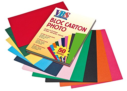 VBS Tonkarton Tonpapier Block DIN A4 50 Blatt 10 verschiedene Farben 220g/qm Bastelpapier Karton Kinder basteln Papier Schule